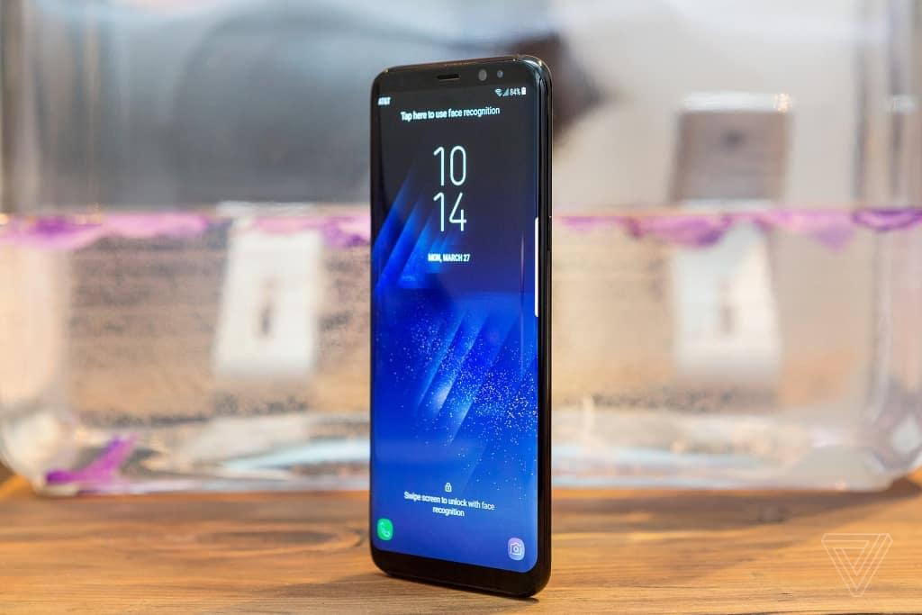 standing Samsung galaxy S8